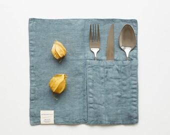 Set of 2 Blue Fog Linen Cutlery Pockets
