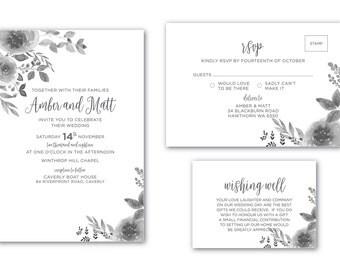 Printable Wedding Invitation | Customized | Wedding Invitation | Wedding Invitation Set | Seeing Grey Suite
