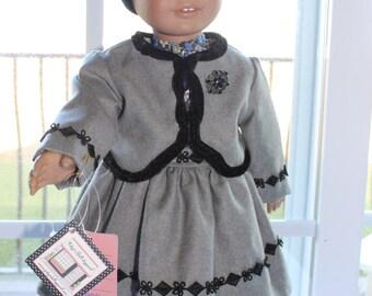 Grey Wool Trimmed with Black Velvet Suit