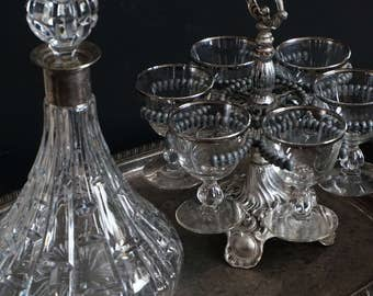 Vintage, Crystal Decanter with Six 4 Ounce Glasses with Stand and Silver Plate Tray
