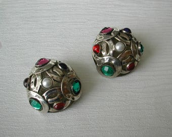 Clip on earrings, french designer, POGGI, vintage earrings, accessory, gift