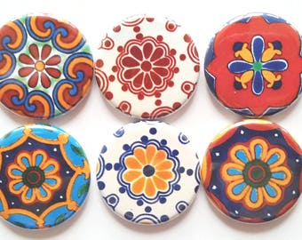 Talavera Magnets, Mandala Magnets, Fridge Magnets, Decorative Magnets, Talavera Pinwheels, Magnets, Office, Home Decor, School, Set of 6