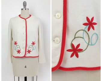 60s Floral Embroidered Cardigan / 1960s Vintage Bobbie Brooks Knit Sweater / Large / Size 12