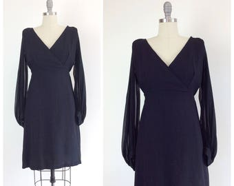 60s Little Black Wiggle Dress / 1960s Vintage Bombshell Sheer Sleeve Crepe Formal Dress / Medium / Size 8 to 10