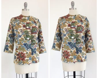 50s Floral Sweater / 1950s Vintage Knit Wool Button Up Cardigan / Large / Size 14