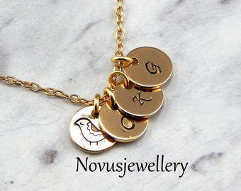 Mothers Necklace,Personalized Childrens Initial Necklace,Bird Necklace,Gold Disc Necklace,Grandma, family necklace,Mothers Day