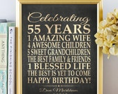 BIRTHDAY GIFT 55 Years Birthday PERSONALIZED Sign, Any Year 50 Birthday Print Over the Hill Poster / Digital Download Or Print Birthday 55th