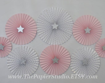 Twinkle Twinkle Little Star, Pink and Silver Set of 8 (eight) Paper Rosettes