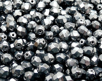 50pcs Czech Fire-Polished Faceted Glass  Beads Round 6 mm Jet Hematite (6FP065)