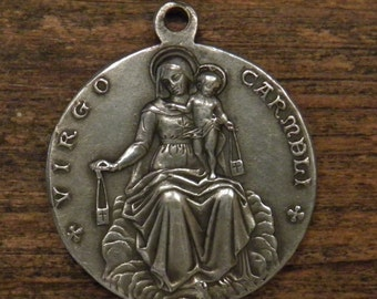 antique silvered religious medal pendant of our Lady of Carmel and Jesus Sacred heart