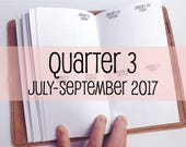 Traveler's Notebook PERSONAL Size Week on Two Pages in VERTICAL Layout {Q3 | July-September 2017} #700-33