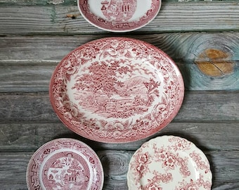 Antique Collection Pink Transferware Plates curated wall decor replacements