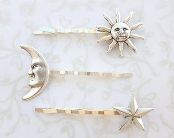 Silver Sun Moon Stars Bobby Pins Set Of 3 Eclipse Hair Pins