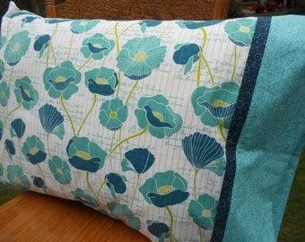 Floral Pillowcase, Poppies, Fresh New Fabrics, Gift for Her, Standard Size Pillowcase