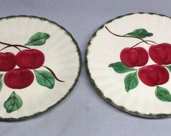 "A Pair of Vintage Blue Ridge Southern Pottery Apple Trio 10.5"" Dinner Plate EUC!"