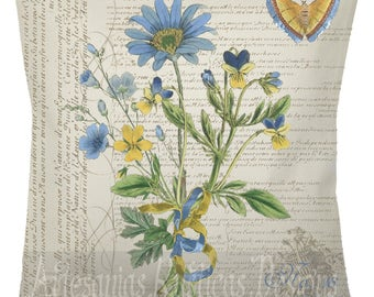 French Pillow 100% Cotton Canvas Burlap Vintage Yellow and Blue Flowers Print on Vintage French Script  Stamps Throw Pillow Cover Euro Sham
