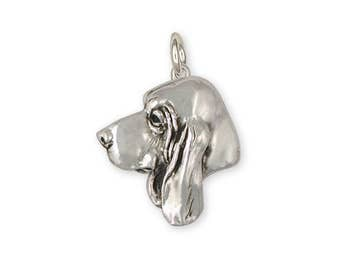 Basset Hound Charm Jewelry Sterling Silver Handmade Dog Charm BAS7-C