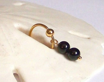 "Gold Captive Bead Ring - WHOLESALE - 18G 5/16"" or 3/8"" Cartilage Ring - Black Onyx Dangle Ear Jewelry Rook Snug Daith Helix Tragus Hoop CBR"