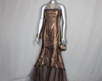 Free Shipping USA only Gold/Brown Shoulder-less Gown Weddings Parties Proms