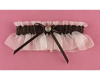 Mocha Chocolate Brown Wedding Bridal Garter