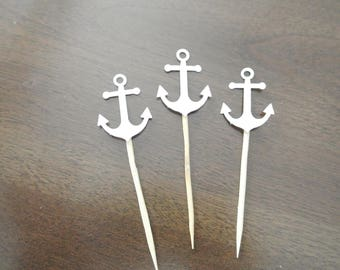 Nautical themed baby/bridal shower cupcake toppers 12CT. READY TO SHIP- white