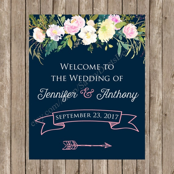 Blushing Roses Wedding Welcome Sign Printable - Blush and Teal Wedding Welcome Sign Printable - Welcome Sign - Digital Printable Sign