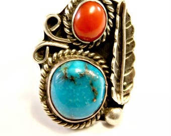 Turquoise Coral Ring, Sterling Silver Size 4