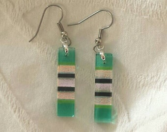 Green Fused dichroic glass earrings with gold accents, Dichroic glass jewelry, Dangle earrings, Green earrings, Rectangle earrings, EA213