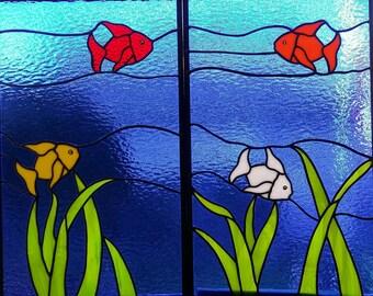 Stained Glass Aquatic Window Panel,Marine Life,Tropical Fish,Yellow,Orange,Red,White Fish,Sea Life,Wall Hanging,Handmade,Beach Home Decor,