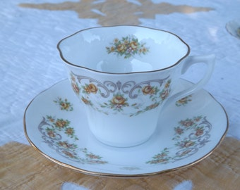 Vintage Rosina China Co. LTD Tea Cup/Queen's Fine Bone China/Yellow Floral/England/Home and Living/Kitchen and Dining/Dining and Serving