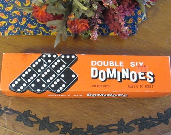 Vintage Double Six Wooden Dominoes, Made in Taiwan