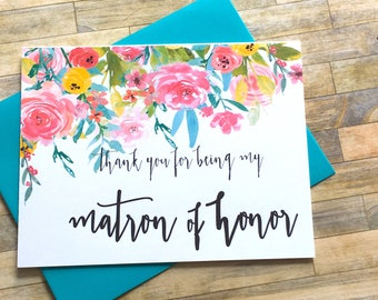 Matron of Honor Thank You Card - Thank You For Being My Matron of Honor Card - Wedding Thank You -  Bridal - Maid of Honor - WILDFLOWERS