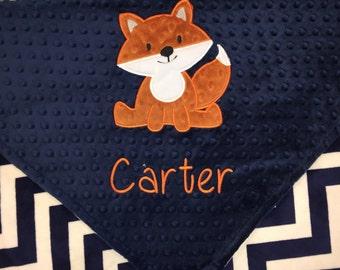Personalized Crib Blanket, Fox Blanket, Arrow Blanket, Minky Baby Blanket, Grey Arrow Minky, Baby Blanket, Custom Blanket, Made to Order