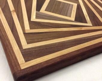 Spiraling squares cutting board