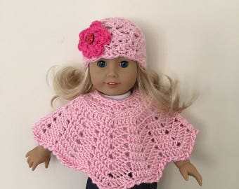 Doll hat and poncho set with lovely flower & ladybug button!!  (will fit American girl doll), doll clothes, doll hat, doll poncho