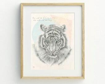 Tiger Art Print - Animal Wall Art, Tiger Illustration,  Hand Drawn Tiger, Bohemian, Original Artwork, Wildlife Art, Archival Print