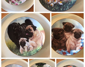 Assorted Collectible Pug Plates-The Danbury Mint (7 Plates)