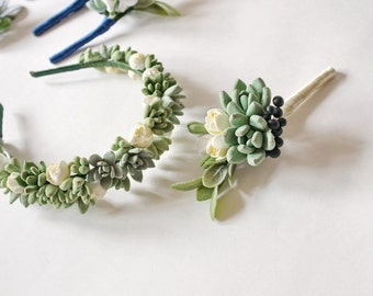 Wedding succulent crown Succulent headband Bridal tiara with succulents bridal halo floral tiara Succulent crown Succulent halo headwreath