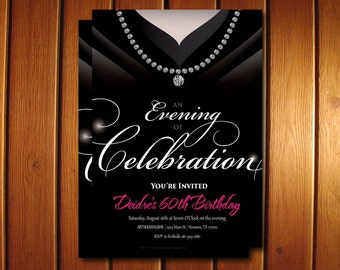 Gown Invitation • Birthday Party Invite for Women  • Classy Adult Birthday Invitations • Black and White