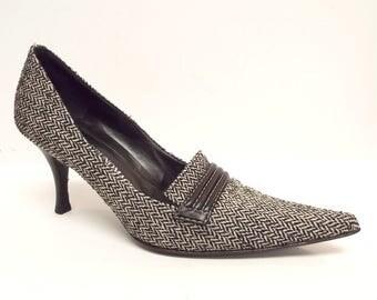 Vintage Bruno Magli Size 8 Black Houndstooth Heels  Pumps or Shoes