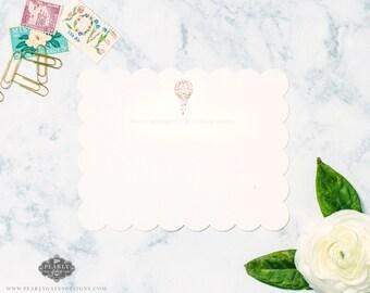 Hot Air Balloon Stationery, Hot Air Balloon Notecards, Personalized Stationery, Personalized Gift, Watercolor Stationery,  Set of 25