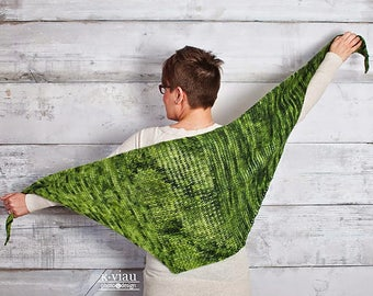 Green Tea - Tunisian Crochet Shawl Pattern - Asymmetrical Shawl Crochet Pattern - Crochet Shawl Advanced Pattern