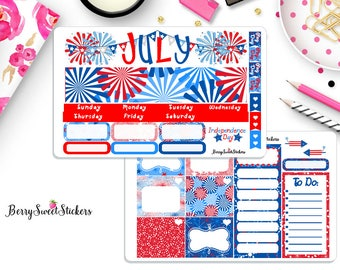 July Monthly Kit, Month View Planner Stickers, Erin Condren Planner Stickers, Monthly Layout, Month View Planner Stickers