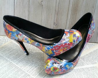 READY TO SHIP: Custom Comic Book Heels Comic Book Shoes Comic Heels Comic Shoes Graffiti Heels Comic Book Wedding Heels Comic Con Heels Geek