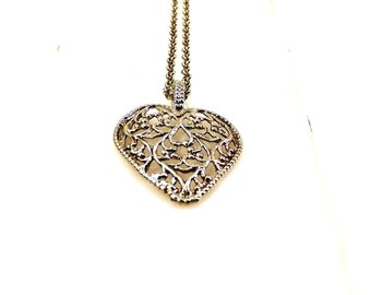 Silver heart necklace, Unique heart necklace, Filigree heart, Special heart gift, Heart pendant necklace, Heart charms, Mom gift, Love gift