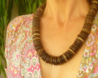 Coconut Necklace. Coconut Disc Beads. Large Size. Jewelry Coconut Seeds