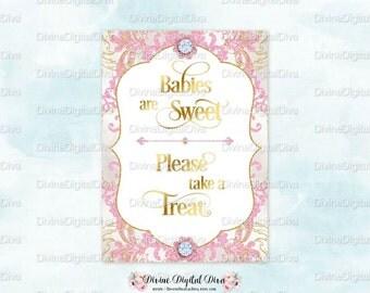 Dessert Table Sign Glamour Girl Pink Gold Glitter   5 x 7   Digital Instant Download