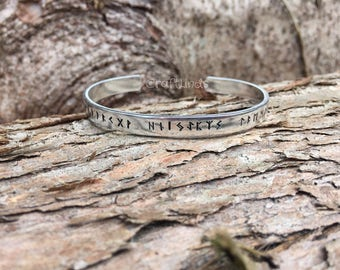 Viking runic hand stamped cuff, aluminium slim bracelet,The Elder Futhark, Earth, warrior, heaven, 24 runes, Norse, Viking, runic alphabet