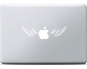 Wings MacBook Sticker, Laptop Decal, MacBook Pro, Apple, Angle, Flying apple, Illusion, Shining Sticker, Desgin, Art, Gift for her