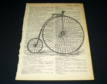 Victorian Bicycle Dictionary Art Print Home Decor Wall Art Book Page Art Steampunk Bike Burston's Victory
